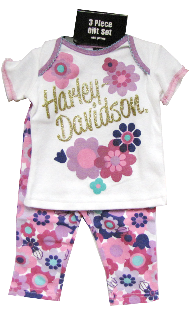 http://www.adventureharley.com/harley-davidson-infant-girl-3-piece-set-tee-pants-and-hat