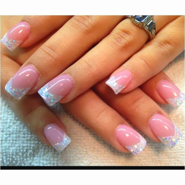Sculpted french pink white gel nails with multi for Acrylic toe nails salon