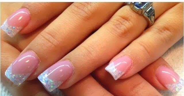 Sculpted French Pink White Gel Nails With Multi Holographic