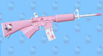 Hello Kitty pink AR-15 rifle gun