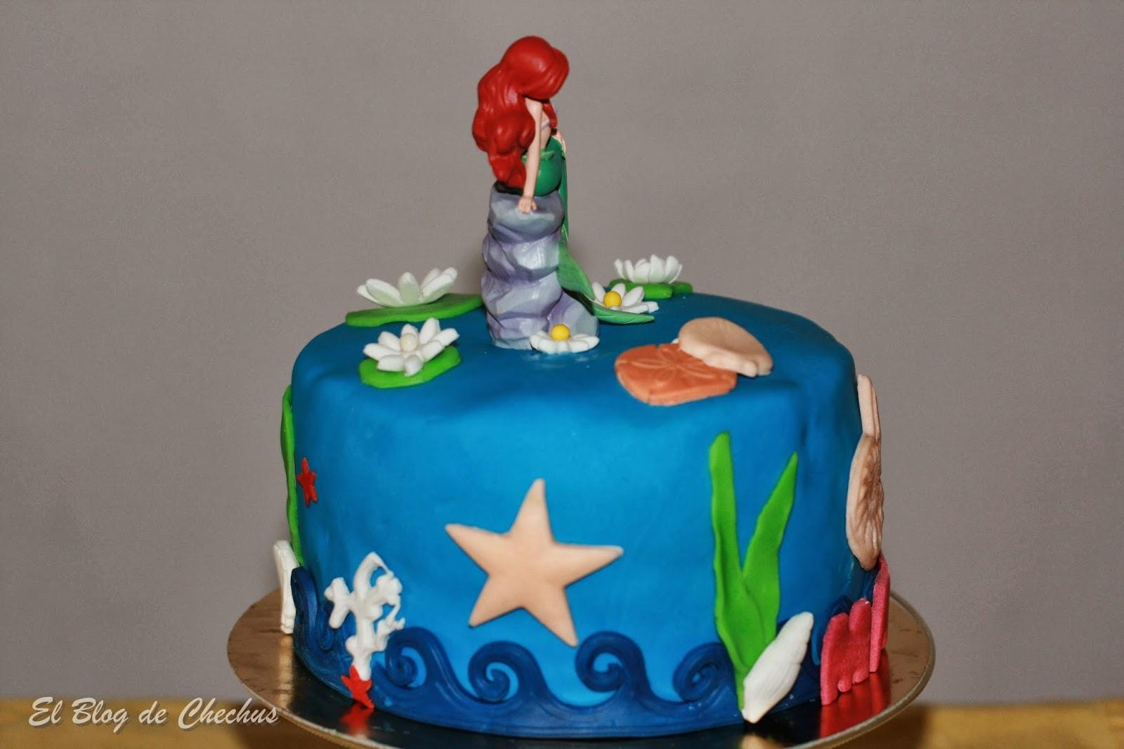 tartas decoradas, La Sirenita, Tarta de la Sirenita, el blog de chechus, Chechus Cupcakes
