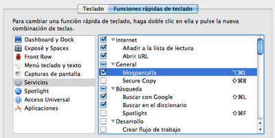 Preferencias del sistema: Funciones rápidas de teclado.