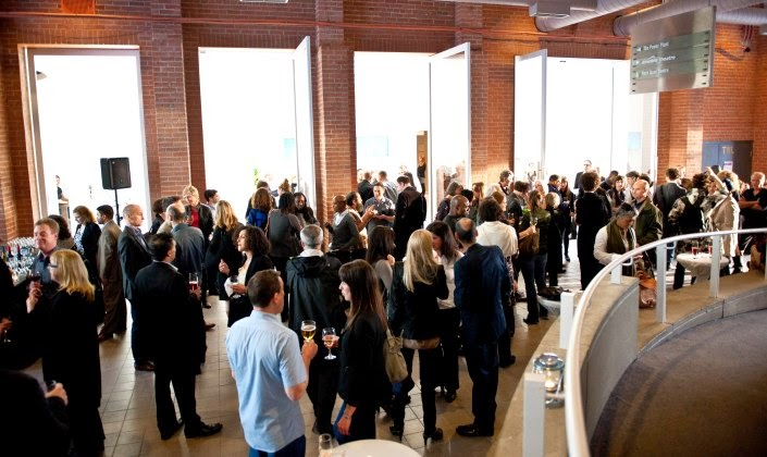 A reception in the atrium of the Power Plant gallery.