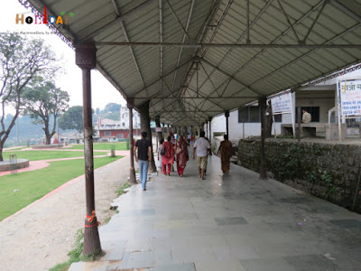 Devotees entering the temple