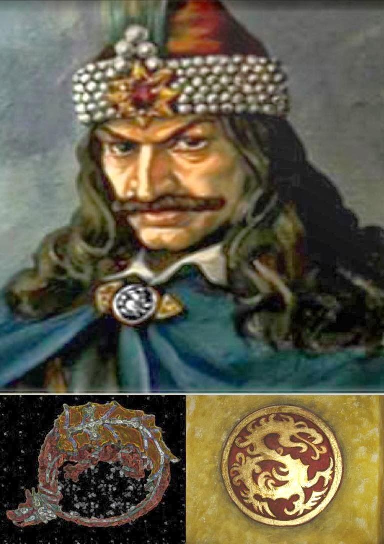 Blazonul Ordinului Dragonului (stânga) şi al lui Vlad Ţepeş