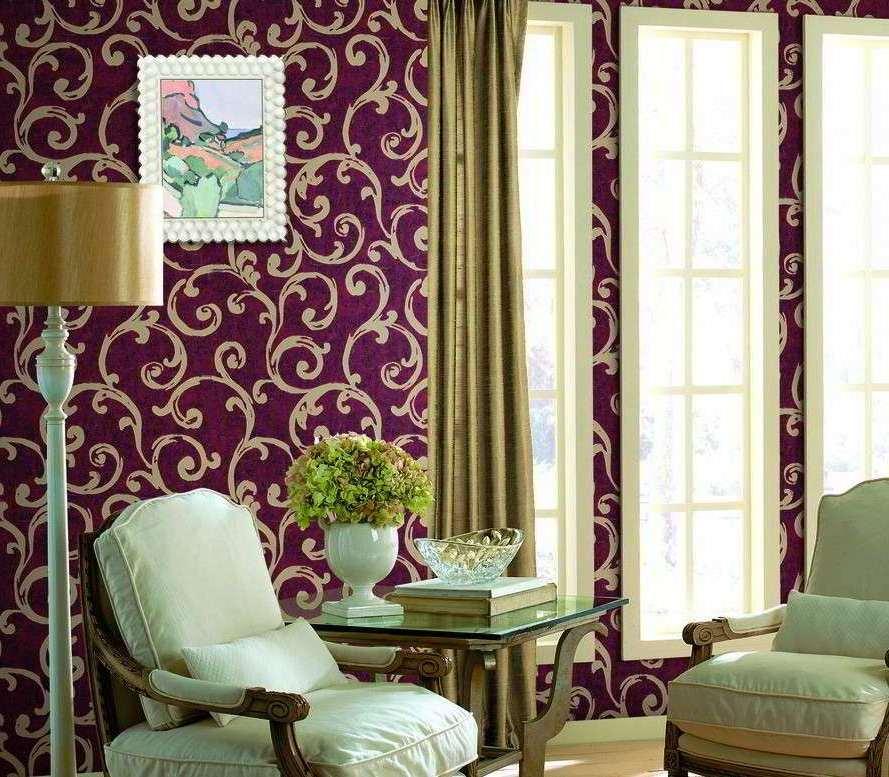 Wallpaper Dinding Ruang Tamu Ungu