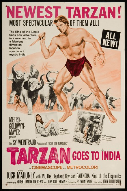 movies, vintage, vintage posters, graphic design, free download, retro prints, classic posters, Newest Tarzan! Most Spectacular of Them All! Tarzan Goes to India - Vintage Movie Poster