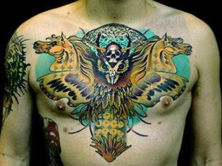 Modelos tatuagens de animais coruja e cavalos