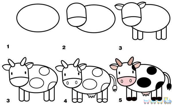 Drawing Simple Animal Milk Cow pics