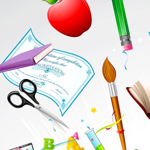 manzanas, diplomas, pinceles