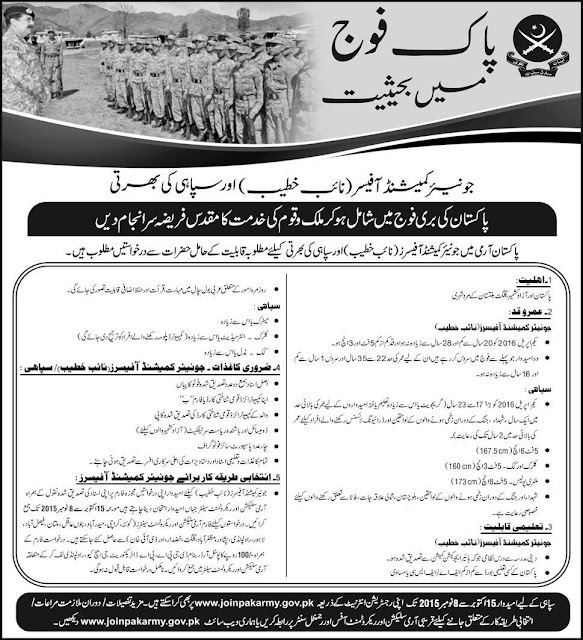 Join Pakistan Army as  Sipahi & Junior Commissioned Officer ( Khateeb)