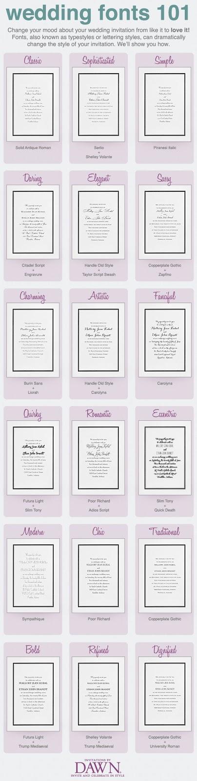 invitations by dawn, wedding fonts 101
