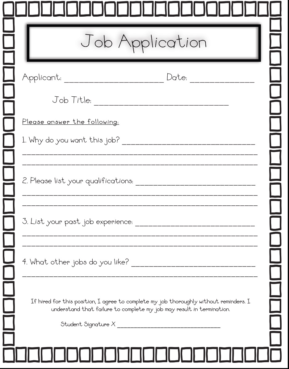 Printable job applications for students printable job application falaconquin