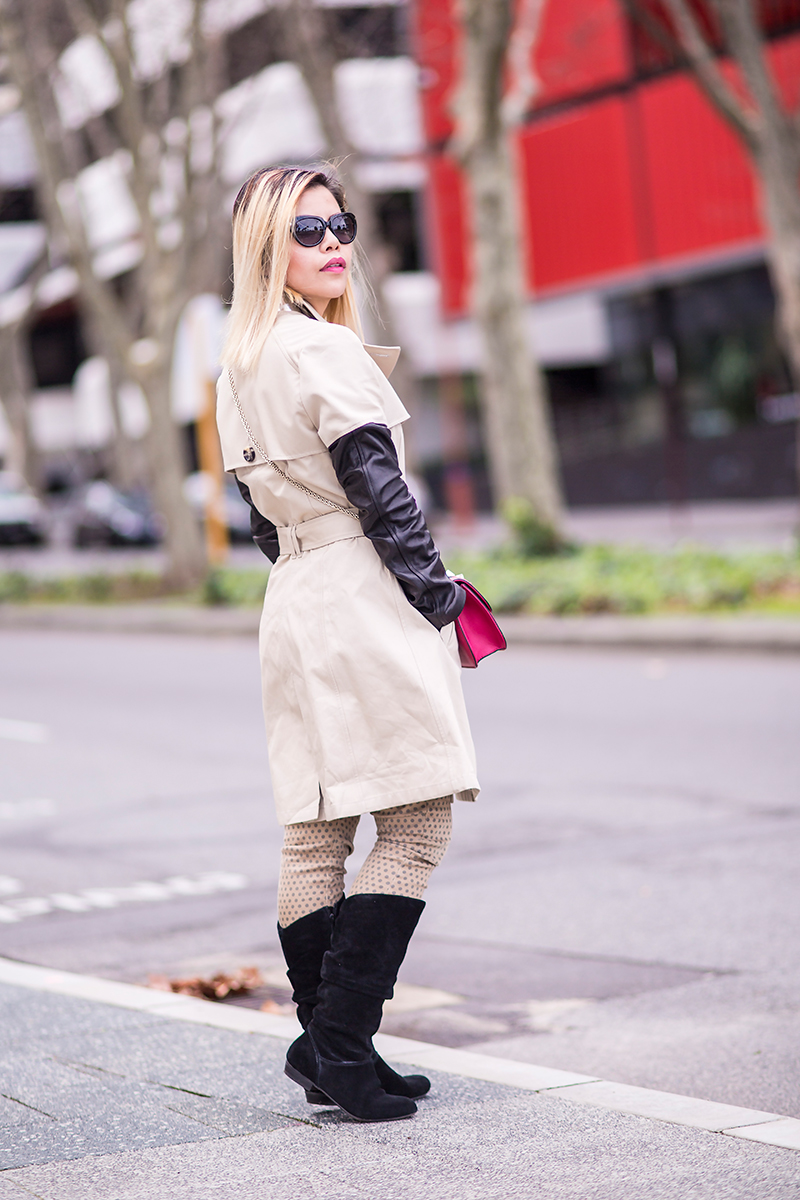 Crystal Phuong- Walking in trench coat and knee high boots in Perth City