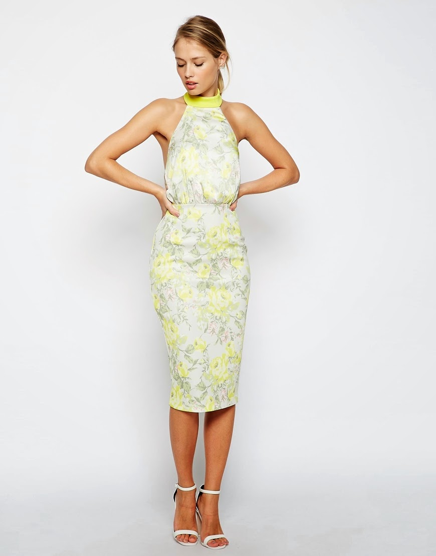 lemon flower halterneck dress