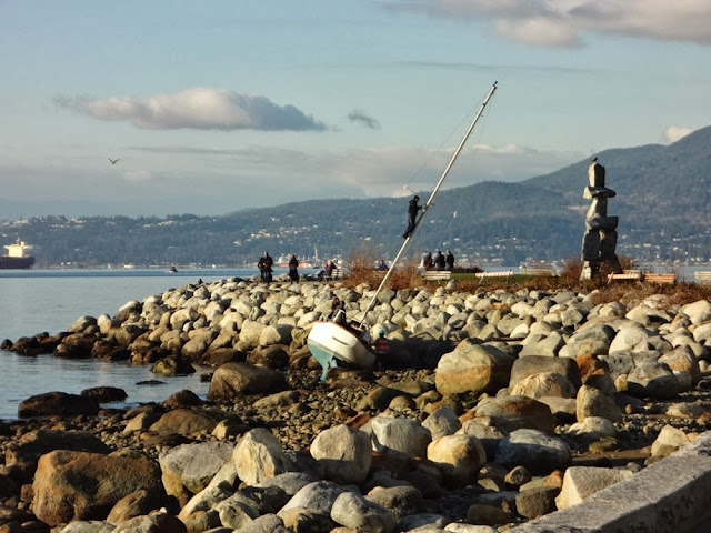 Boat capsized along the Seaside Bike Path in Vancouver
