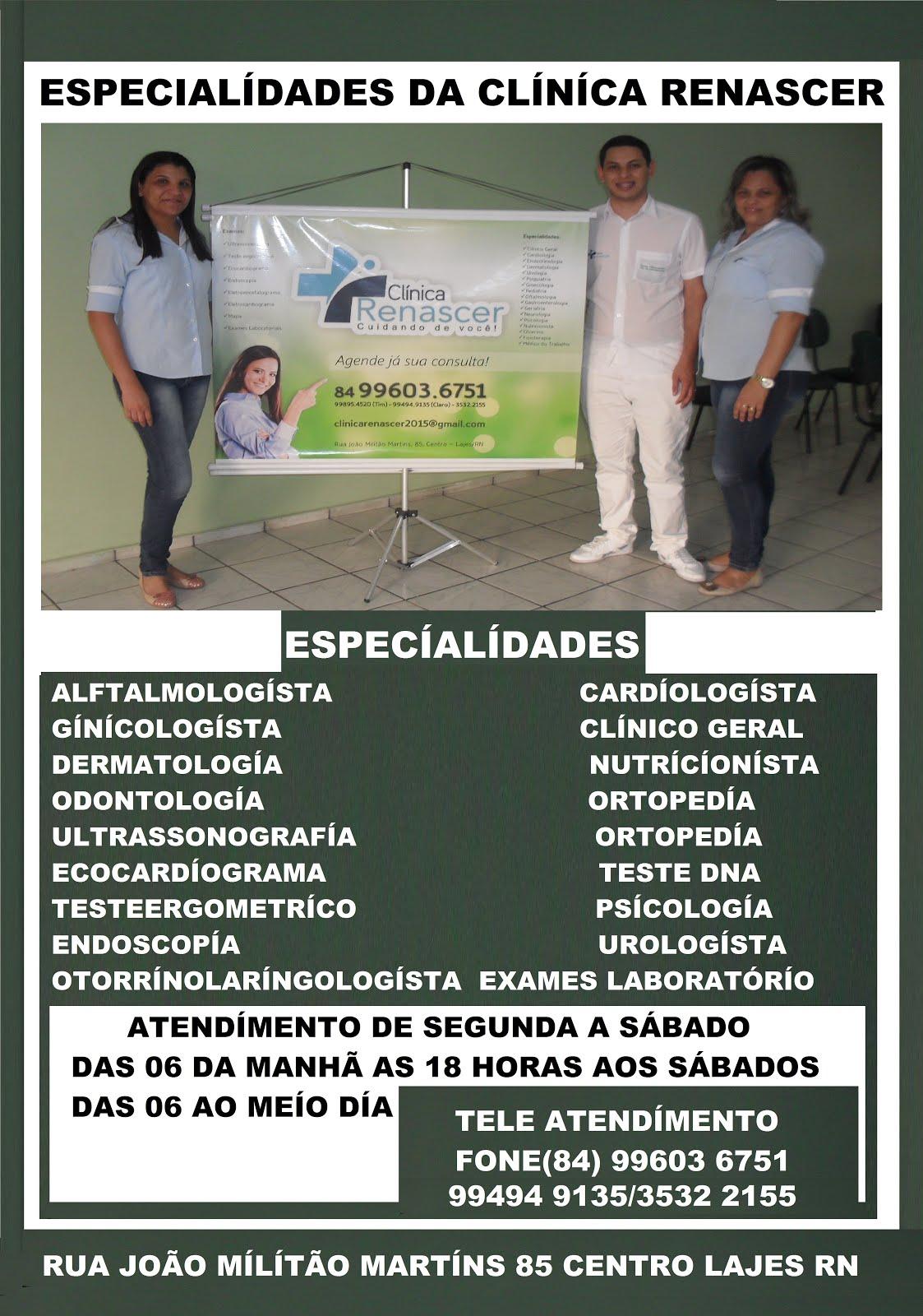 ESPECIALIDADES DA CLINICA RENASCER LAJES RN