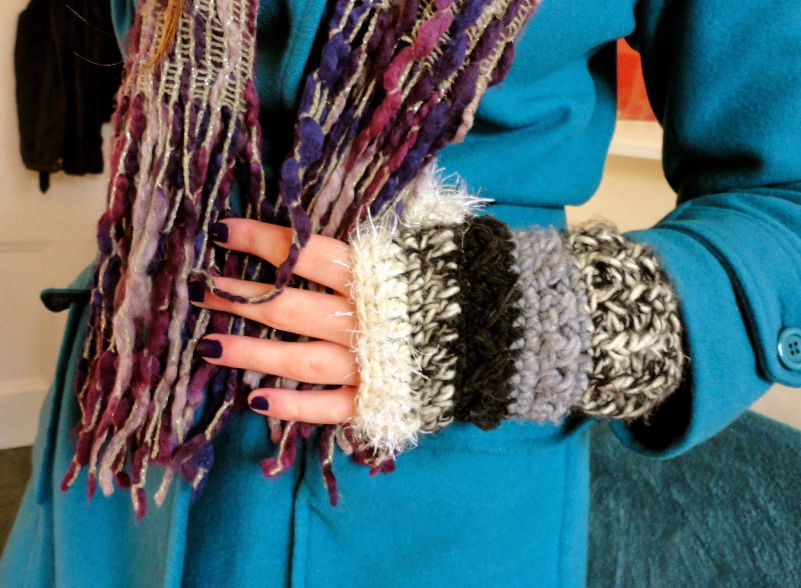 purple winter scarf and black/white/grey fingerless mittens