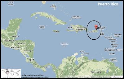 Mapa de Relieve de Puerto Rico en El Caribe