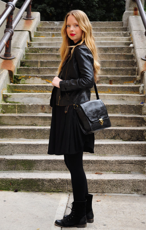 black leather jacket, black combo boots, maternity look