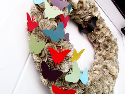 Butterfly Bookpage Wreath