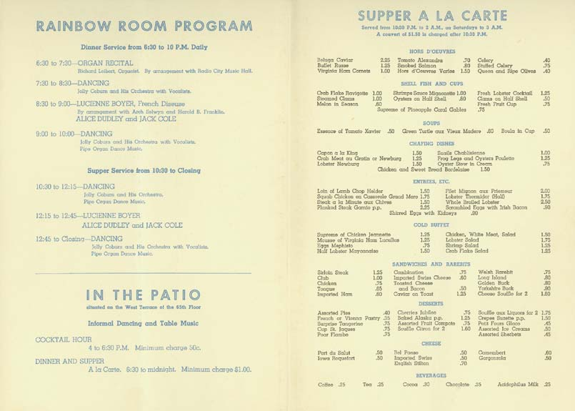 lostpastremembered: The Rainbow Room and Lobster Newberg