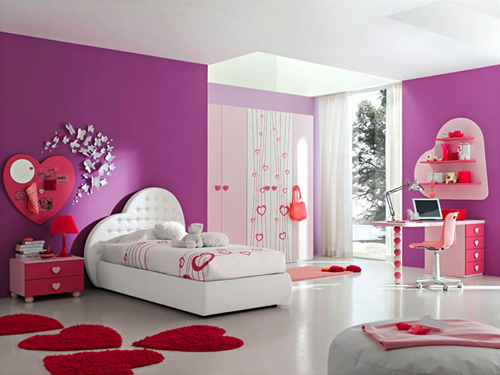 select and decorate girl bedroom with red pink or purple home interior and decoration. Black Bedroom Furniture Sets. Home Design Ideas