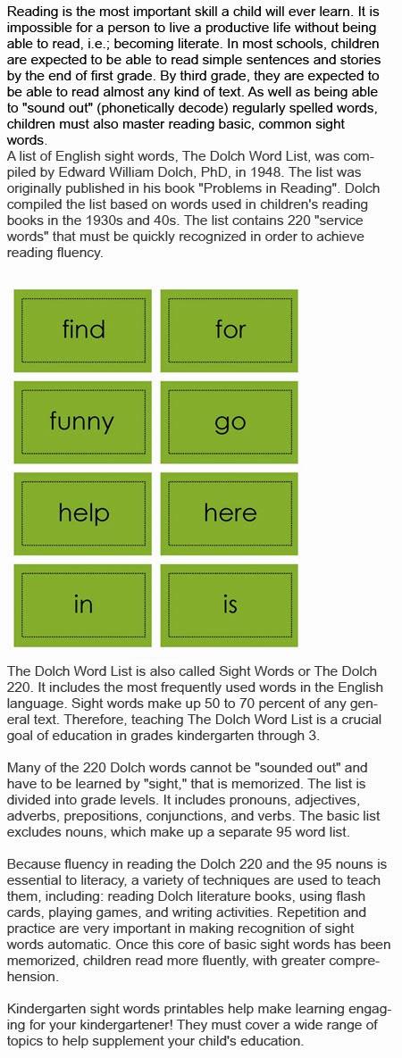 Kindergarten sight words printables