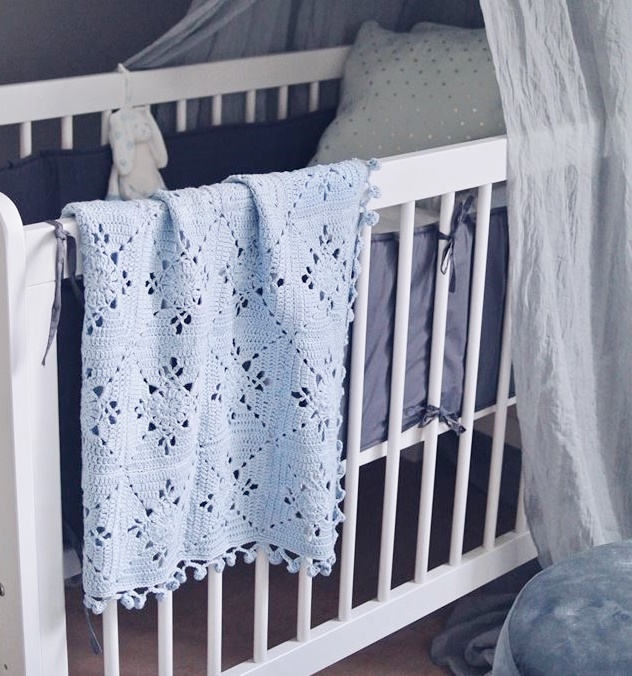 Mönster blå babyblanket - BBB