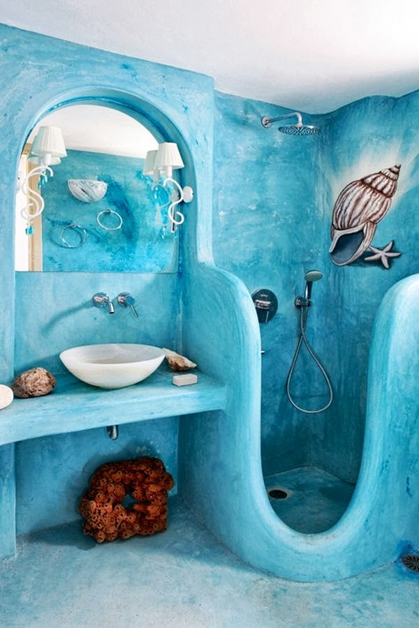 Baño Color Verde Agua: marina para baños en azul celeste, el agua y el cielo unidos