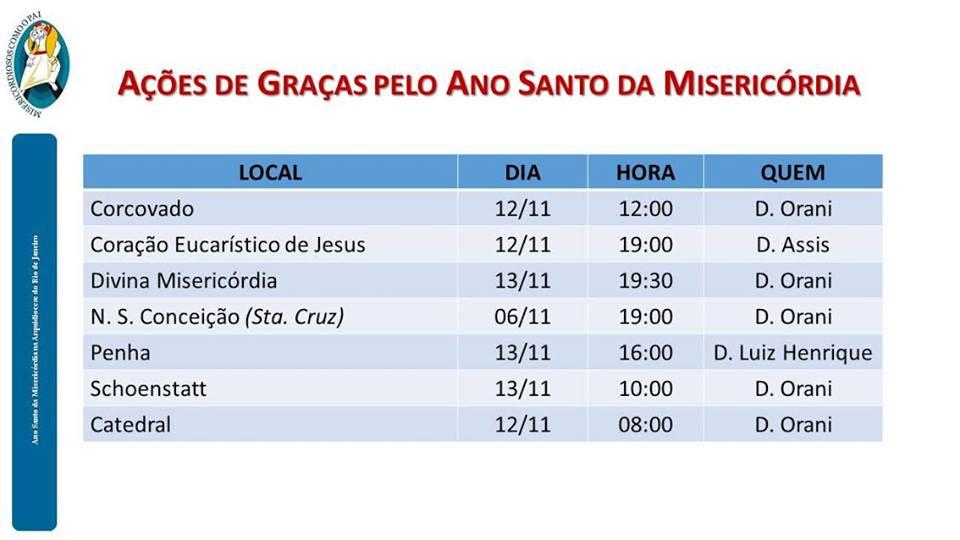 AÇÕES DE GRAÇAS PELO ANO SANTO DA MISERICÓRDIA - RIO DE JANEIRO