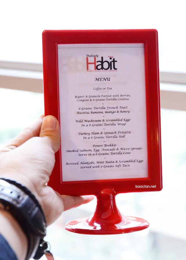 The menu at The Daily Habit showcasing dishes made from Mission 6-Grain Wrap