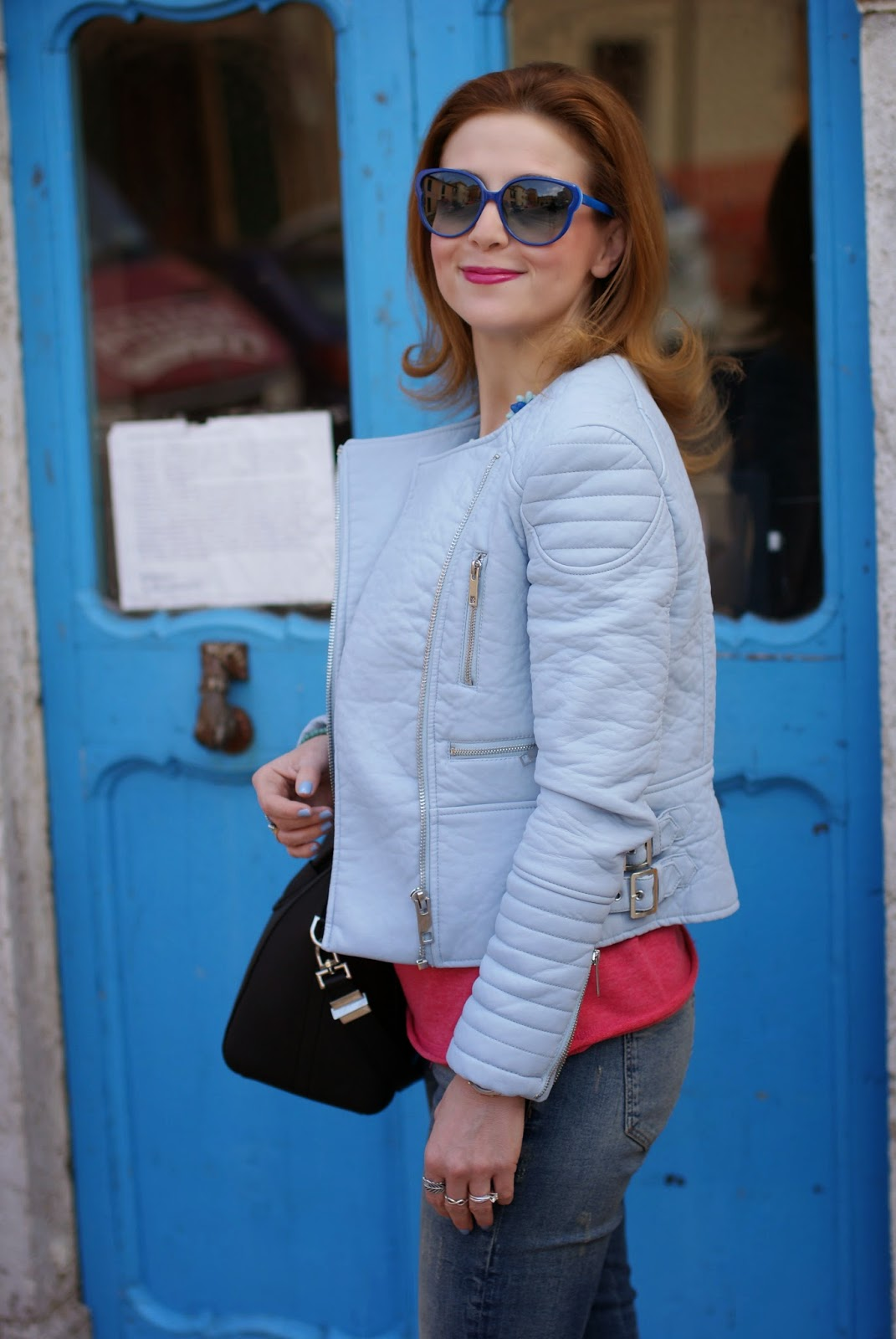 Zara pastel blue faux leather biker jacket, Marc by Marc Jacobs blue sunglasses, Fashion and Cookies, fashion blogger