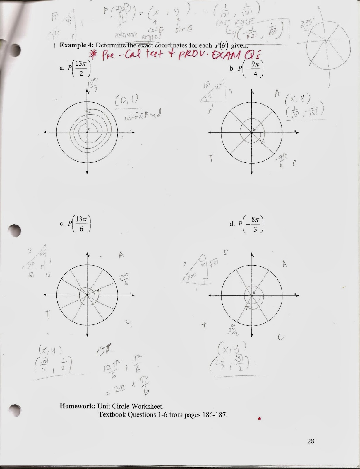 PreCalculus 40S Fall 2013 Special Angles Multiples and Patterns – Reference Angles Worksheet