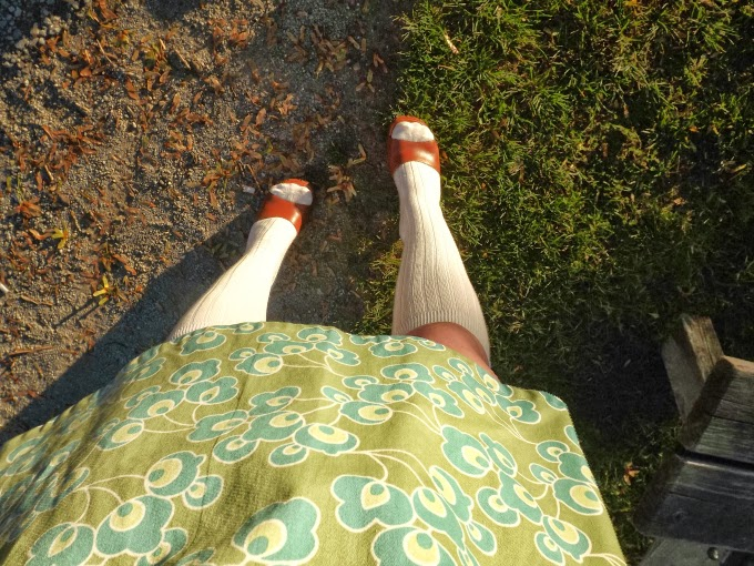 wood clogs, knee socks, green print dress, Dilly Daisy, windsor ontario designer