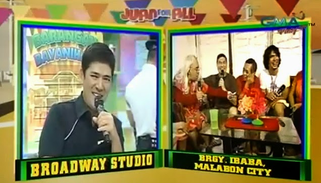 Bossing Vic Sotto, laughing at Lola Wanda's hair line.