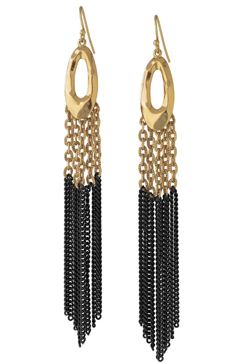 Gold & Black Chain Tassel Earrings