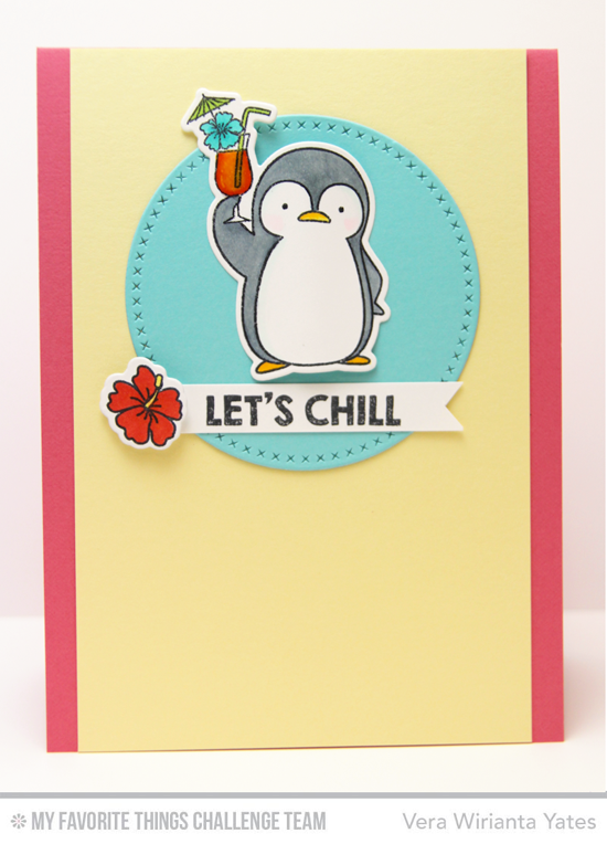 Chilling Penguin Card by Vera Wirianta Yates featuring the Birdie Brown Penguins in Paradise stamp set and Die-namics and the Cross-Stitch Circle STAX Die-namics #mftstamps