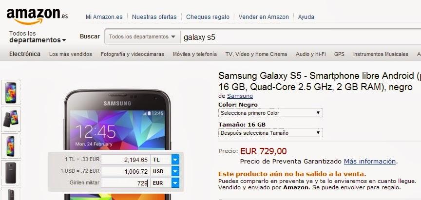 galaxy s5 satış fiyatı ön sipariş