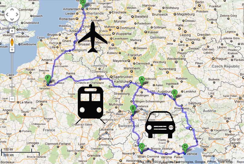 traveling by plane and by train Combitrip is the first journey planner that plans fully optimized trips by public transportation  (for example you can depart by plane and come back by train.