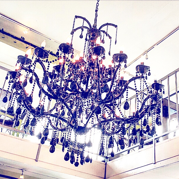 black chandelier, Stumptown Coffee Roasters Long Beach, See Summer Better, Warby Parker