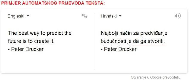 Primjer prijevoda sa engleskog na hrvatski jezik, google translate