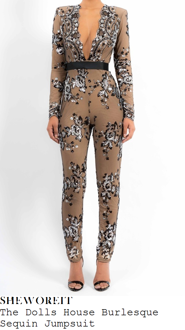 sam-faiers-nude-taupe-beige-floral-sequin-embellished-long-sleeve-jumpsuit-towie-80s-party