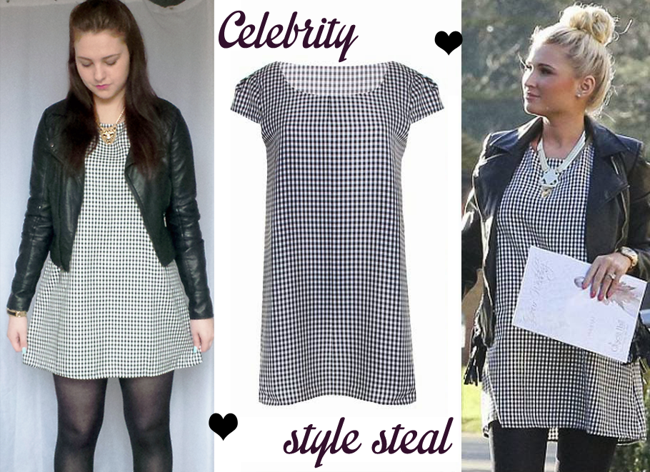 Celeb style steal blog LOVE, In love with fashion, love in love with fashion, love in love with fashion gingham print shift dress, shift dress outfit, gingham dress outit, outfit of the day, fashion blogger, fblogger, OOTD, new look leather jacket, tiger statement necklace