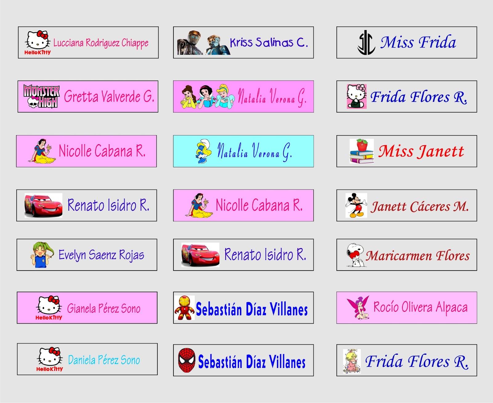 Cintas con nombre stickers con nombre for Donde venden stickers para pared