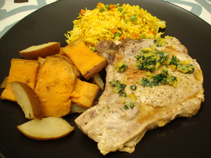 pork chops, roasted pears and sweet potatoes and yellow rice pilaf