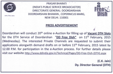 DD Freedish announced for 20th e-auction for Vacant Slots