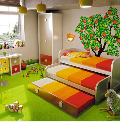 decoracin interior de dormitorio juvenil naturaleza