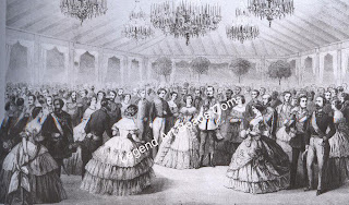 The ball given in Moscow during the coronation festivities in 1856 by the British Ambassador Extraordinary, Earl Granville, and his wife. The host and hostess are shown standing at the right in the tented ballroom devised for the occasion by Sir Joseph Paxton.