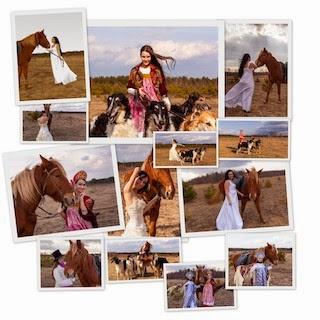 Борзые, лошади, красивые женщины.